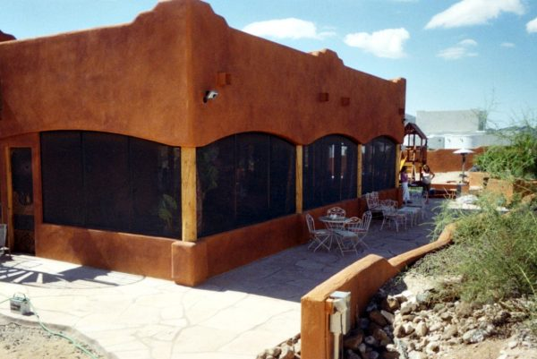 Patio Enclosure with Arches and Stub Wall